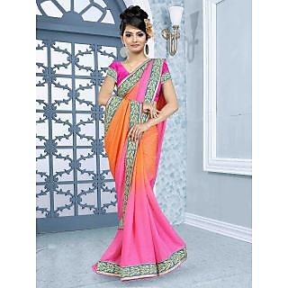 RnBalraj401A Fancy Georgette&Jacquard Embroidery Saree With Silk Blouse.