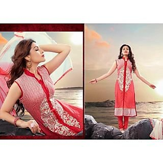 Designer Red Cotton Salwar Kameez