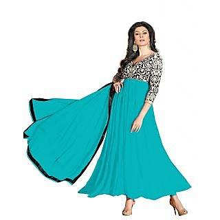 Pleasurable Turquoise Georgette Anarkali Suit