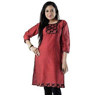 Cotton Red Women Casual Kurti HIFI10REDF