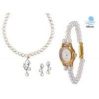 Oleva Combo Set Of 2 Ladies White Pearl Pendant Set With Ladies Pearl Watch OHD 67