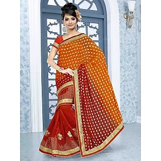 RnBalraj402A Fancy Georgette&Jacquard Embroidery Saree With Silk Blouse.