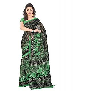Lookslady Printed Green & Black  Georgette Saree