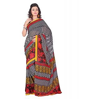 Lookslady Printed Black & White Georgette Saree