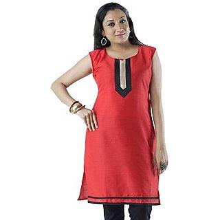 Cotton Red Women Casual Kurti HIFI19GRYS