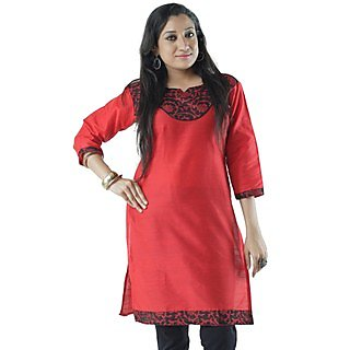 Cotton Red Women Casual Kurti HIFI22BLUF