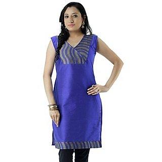 Cotton Blue Women Casual Kurti HIFI26GRYF