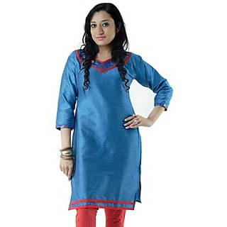 Cotton Blue Women Casual Kurti HIFI29GRNS