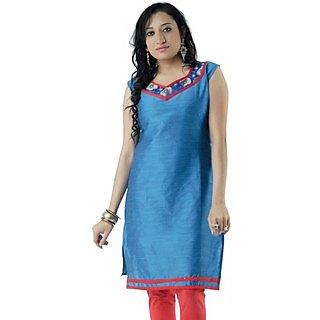 Cotton Blue Women Casual Kurti HIFI22BLUS