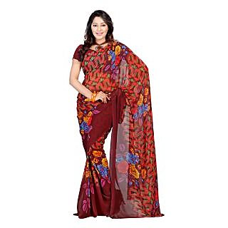 Yomeeto Faux Georgette Fabric Maroon Colured Printed Saree
