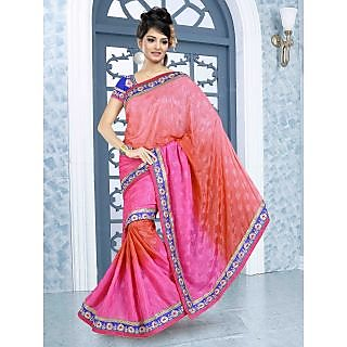 RnBalraj403A Fancy Georgette&Jacquard Embroidery Saree With Silk Blouse.