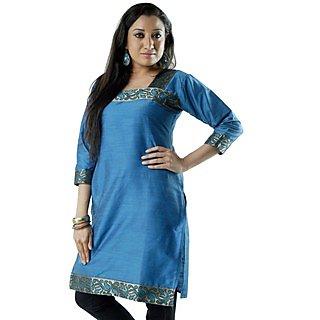 Cotton Blue Women Casual Kurti HIFI30GRNS