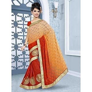 RnBalraj404A Fancy Georgette&Jacquard Embroidery Saree With Silk Blouse.