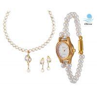 Oleva Combo Set Of 2 Ladies White Pearl Pendant Set With Ladies Pearl Watch OHD 70