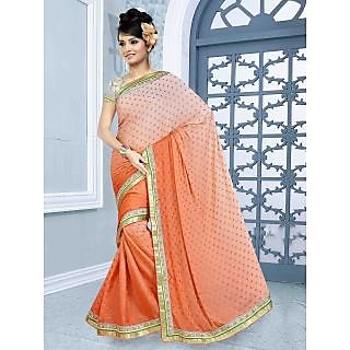 RnBalraj405B Fancy Georgette&Jacquard Embroidery Saree With Silk Blouse.