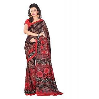 Lookslady Printed Red & Black Georgette Saree