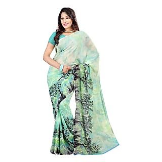 Yomeeto Faux Georgette Fabric Light Green Colured Printed Saree