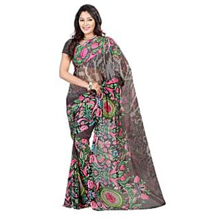Yomeeto Faux Georgette Fabric Black Colured Printed Saree