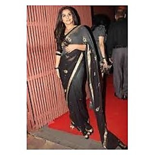 Richlady Fashion Vidya Balan Georgette Border Work Grey & Black Saree