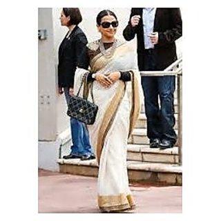 Richlady Fashion Vidya Balan Cotton Silk Border Work White Saree