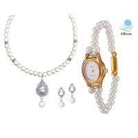 Oleva Combo Set Of 2 Ladies White Pearl Pendant Set With Ladies Pearl Watch OHD 86