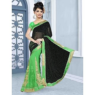 RnBalraj406A Fancy Georgette&Jacquard Embroidery Saree With Silk Blouse.