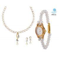 Oleva Combo Set Of 2 Ladies White Pearl Pendant Set With Ladies Pearl Watch OHD 73