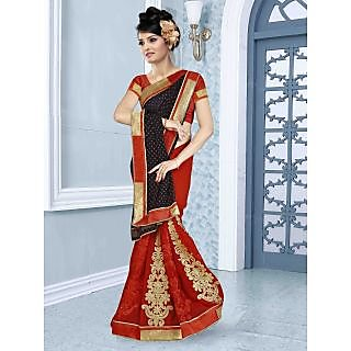 RnBalraj406B Fancy Georgette&Jacquard Embroidery Saree With Silk Blouse.