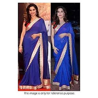 Richlady Fashion Madhuri Dixit Chiffon Border Work Plain Blue Saree