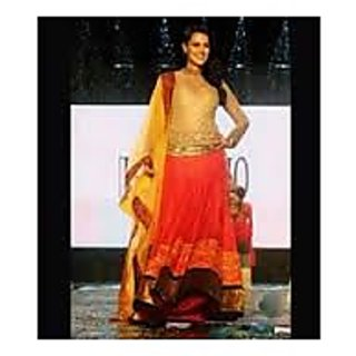 Richlady Fashion Neha Dhupia Net & Velvet Border Work Red Semi Stitched Lehnga C