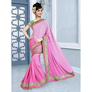 RnBalraj407A Fancy Georgette&Jacquard Embroidery Saree With Silk Blouse.