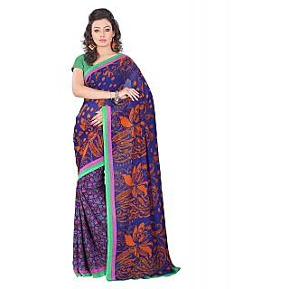 Lookslady Printed Blue, Orange & Pink Georgette Saree