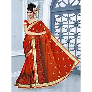 RnBalraj408B Fancy Georgette&Jacquard Embroidery Saree With Silk Blouse.