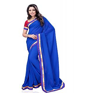 Aaliyah Blue Georgette Saree With Designer Embroidery And Blue Border