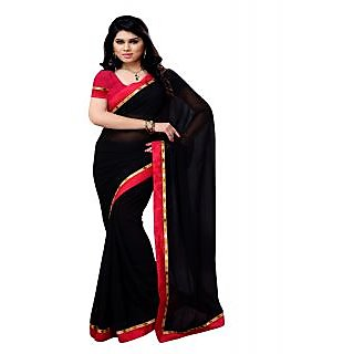 Aaliyah BLACK Georgette Saree With Embroidered Lace And Red Border
