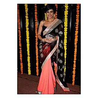 Richlady Fashion Mandira Bedi Net Border Work Pink & Black Saree