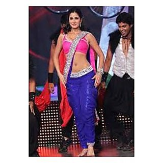 Richlady Fashion Katrina Kaif Chiffon & Georgette Border Work Blue Saree