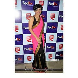 Richlady Fashion Mandira Bedi Georgette Machine Work Pink & Black Saree