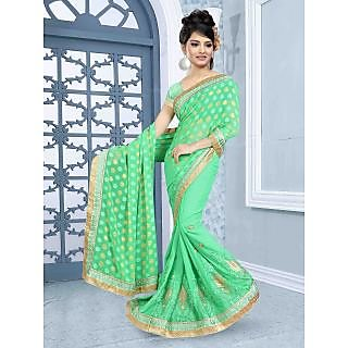 RnBalraj409A Fancy Georgette&Jacquard Embroidery Saree With Silk Blouse.
