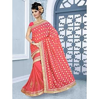 RnBalraj409B Fancy Georgette&Jacquard Embroidery Saree With Silk Blouse.