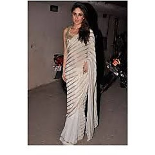 Richlady Fashion Kareena Kapoor Georgette Lace Work White Saree