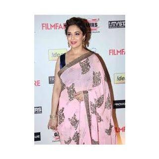 Richlady Fashion Madhuri Dixit Georgette Zari & Stone Work Pink Saree