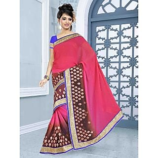 RnBalraj410A Fancy Georgette&Jacquard Embroidery Saree With Silk Blouse.