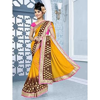 RnBalraj410B Fancy Georgette&Jacquard Embroidery Saree With Silk Blouse.