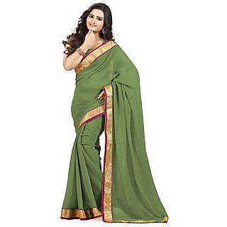 Awesome Mahendi Green Georgette Pattern Designer Saree With Blouse Piece