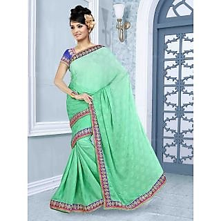 RnBalraj411B Fancy Georgette&Jacquard Embroidery Saree With Silk Blouse.