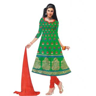 Exclusive Designer Green Banarasi Dress Material