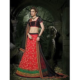 Suchi Fashion Red And Black Embroidery Border Work Russel Net Semi Stitched Lehenga