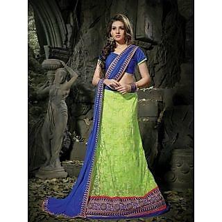 Suchi Fashion Light Green And Royal Blue Embroidery Border Work Russel Net Semi Stitched Lehenga
