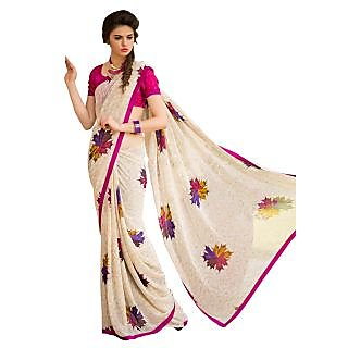 Tamanna Ronak Cream Georgette Designer Printed Saree